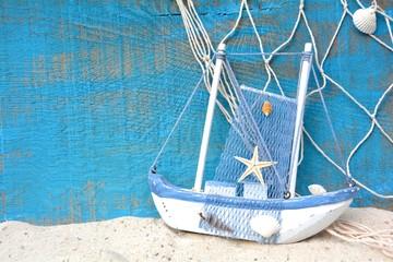 Wall Mural - Hintergrund - Boot mit Fischernetz