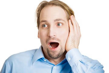 Portrait of shocked man isolated on white background