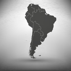South America map with shadow on gray background