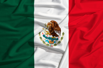 Mexico flag on a silk drape waving