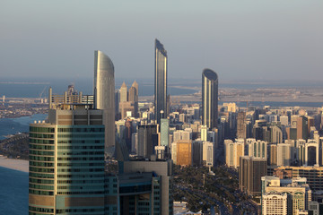 Aerial view of Abu Dhabi downtown, United Arab Emirates