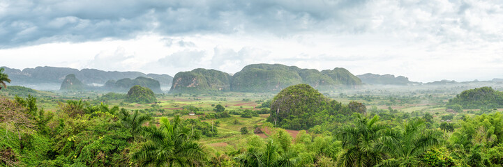 Panoramic view of the Vinales Valley in Cuba