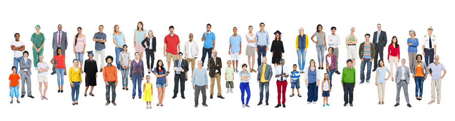 Large Group of World People with Various Occupations
