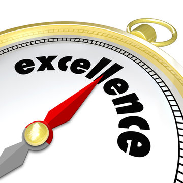 Excellence Word Gold Compass Great Direction Aiming Greatness