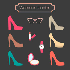 Women's fashion collection of high-heeled shoes