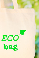 Eco bag on nature background