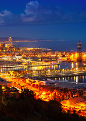 Port Vell and Barcelona  in night. Catalonia