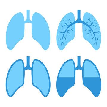 Human Lung Icons Set