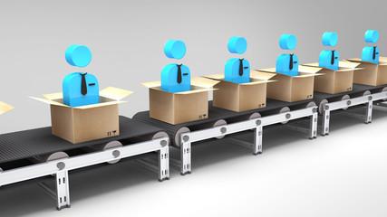conveyor belt with new employees