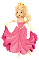 A princess with a pink gown