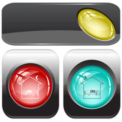 Home bedroom. Vector internet buttons.