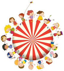 Kids forming a big circle