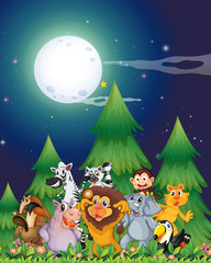 Animals near the pine trees under the bright fullmoon