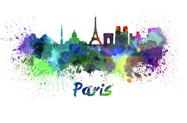 Wall Mural - Paris skyline in watercolor