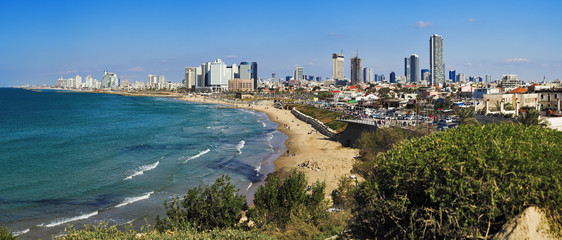 Panorama of Tel-Aviv coastline from Jaffa, Israel