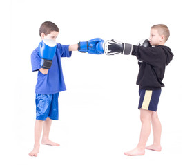 Two kids sparring