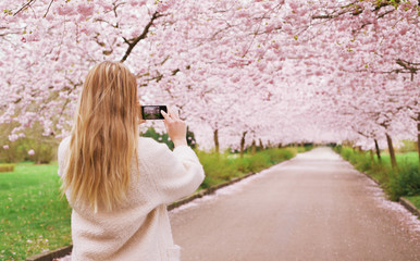 Woman shooting spring blossom garden with her phone