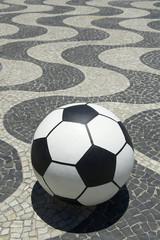 Football Soccer Ball on Copacabana Boardwalk Rio Brazil