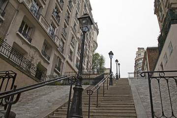 Paris, France. Picturesque street on the Montmartre hill