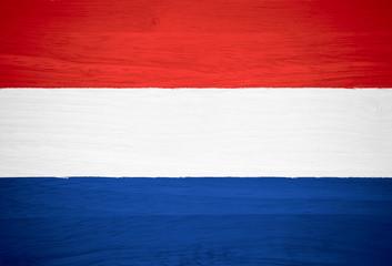 Netherlands flag on wood texture