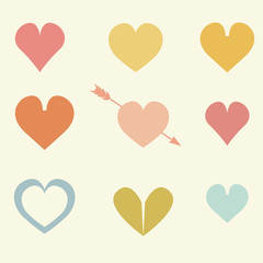 Set of cute colorful drawings of hearts with arrows