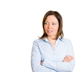 Portrait envy, pissed off woman isolated on white background