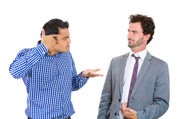 Are you crazy? Two angry men arguing with each other