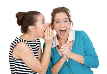 Surprise rumors. Two gossiping women spread latest office story
