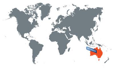 vector mape of world and australia