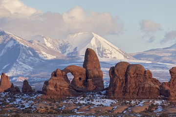 Turret Arch with Snow Mountains, Arches National Park, Utah Wall mural