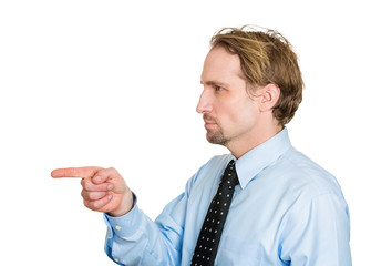 side profile portrait angry man pointing finger at someone