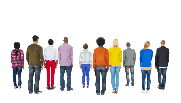 Group of Multiethnic Colorful People Facing Backwards