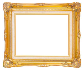 antique gold frame isolated on white background, clipping path