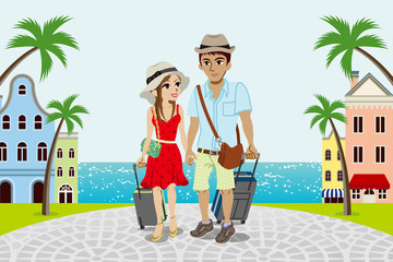 Traveling Couple in Seaside town