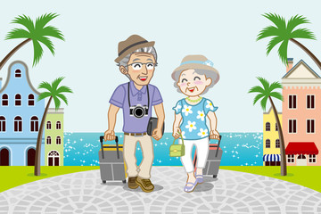 Traveling Senior Couple in Seaside town