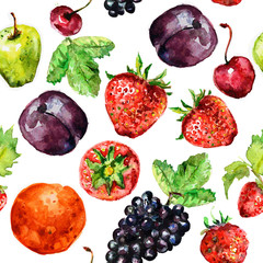 seamless texture of watercolor fruit