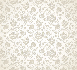 Damask fancy floral wallpaper