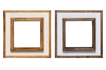 wood photo frame on white background