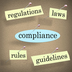 Wall Mural - Compliance Rules Regulations Laws Guidelines Bulletin Board