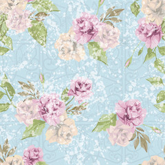 Seamless floral pattern with pastel pink roses with ornament.