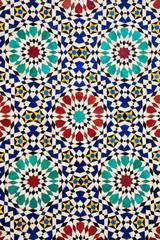 Colorful arabic mosaics in fez, morocco