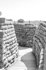 Trenches of death world war one sandbags in Belgium