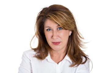 headshot middle aged beautiful woman on white background