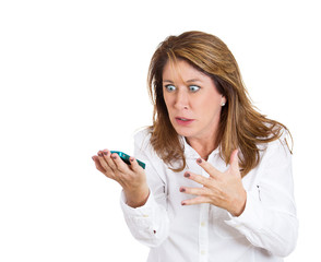 Angry woman screaming on cellphone on white background