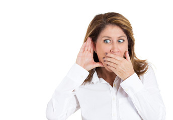 Rumors. Portrait surprised nosy woman listening latest gossip