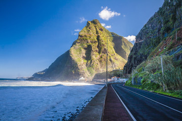 Road and beautiful mountain scenery in the sunny day, Madeira