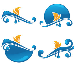 vector collection of water stickers, frames and symbols
