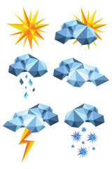 Collection of origami weather symbols