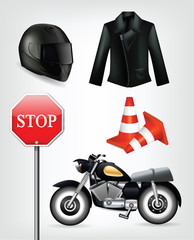Collection of motorcycle objects including helmet, jacket, traff