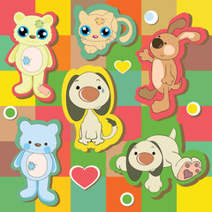 Illustration of funny animals on colorful background